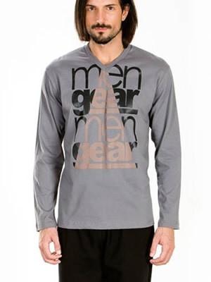Ανδρική Πυτζάμα-Homewear MINERVA Βαμβακερή Interlock - Μεταλιζέ Leather Look Μεταξοτυπία