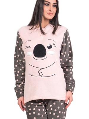 Πυτζάμα Homewear Karelpiu – Γεμάτο Fleece – Σχέδιο Κέντημα & Dots Πουά - Χειμώνας 2017-18