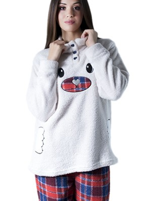 Πυτζάμα Homewear Karelpiu - Ζεστό & Απαλό Fleece - Καρό Παντελόνι - Χειμώνας 2017-18