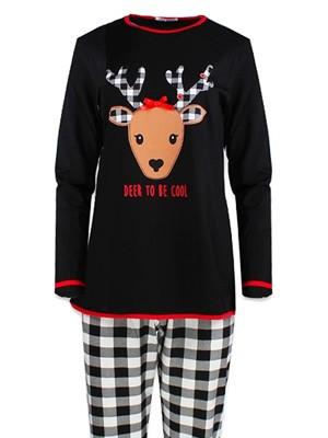 Πυτζάμα Γυναικεία Minerva - Christmas Deer - 100% Γεμάτο Βαμβάκι - Καρό Παντελόνι - Χειμώνας 2018