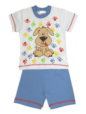 Βρεφική Πυτζάμα Minerva για αγόρι  - Σκυλάκι -100% Οικολογικό Βαμβάκι