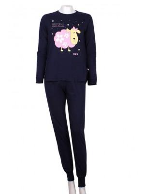 Γυναικεία Πυτζάμα Minerva PINK SHEEP 100% Αγνό Βαμβάκι Interlock