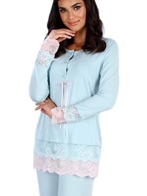 Πυτζάμα Πολυτελείας Gossip – Modal Βαμβάκι – Δαντελένια Διακόσμηση – Χειμώνας 2017-18