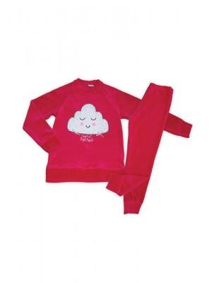 Παιδική Πυτζάμα Πολυτελείας Minerva ΣΥΝΝΕΦΑΚΙ για κορίτσι - Βελουτέ - Σχέδιο-Κέντημα  - Γυαλιστερές Επιφάνειες