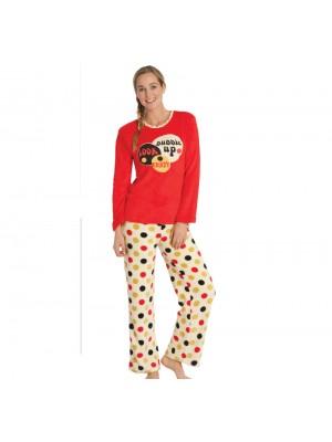 Πυτζάμα Homewear MYSTICO Πουά - Fleece - Πολύ Ζεστή - Απαλή - Fashion Look