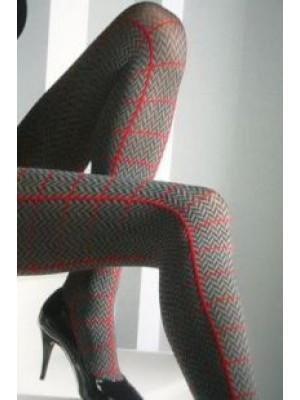 OMERO Καλσόν Πολυτελείας Regent 60 Den Opaque-Αδιάφανο Microfibra - με γεωμετρικό σχέδιο και χρωματιστές ρίγες