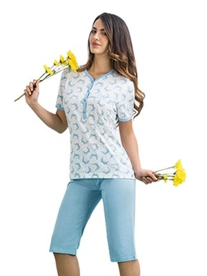 Buccia di Mela Γυναικεία Πυτζάμα - Κάπρι Παντελόνι - Floral σχέδιο - Καλοκαίρι 2017
