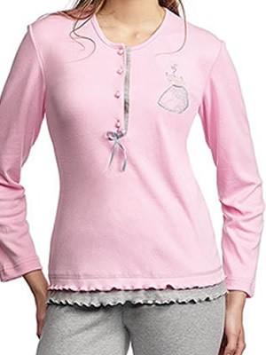 Πυτζάμα Βαμβακερή Interlock Γιώτα Floral Δαντέλας -  Strass -  Κουμπιά-Πέρλες