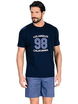 Minerva Αντρική Πυτζάμα Los Angeles - 100% Βαμβάκι - Denim Look - Καλοκαίρι 2017