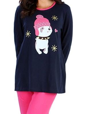Πυτζάμα Γυναικεία Minerva Cute Puppy- 100% Βαμβάκι - Glitter Επιφάνειες - Χειμώνας 2017-18