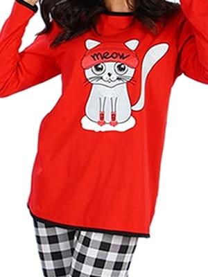 Πυτζάμα Γυναικεία Minerva Cat- 100% Βαμβάκι Interlock - Χειμώνας 2017-18