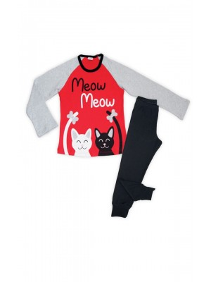 Παιδική Πυτζάμα Minerva για κορίτσι MEOW - 100% Αγνό Βαμβάκι Interlock