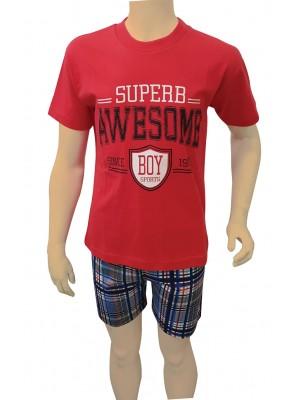 Παιδική Πυτζάμα Minerva για αγόρι AWESOME - Βαμβάκι - Πολύ Απαλή