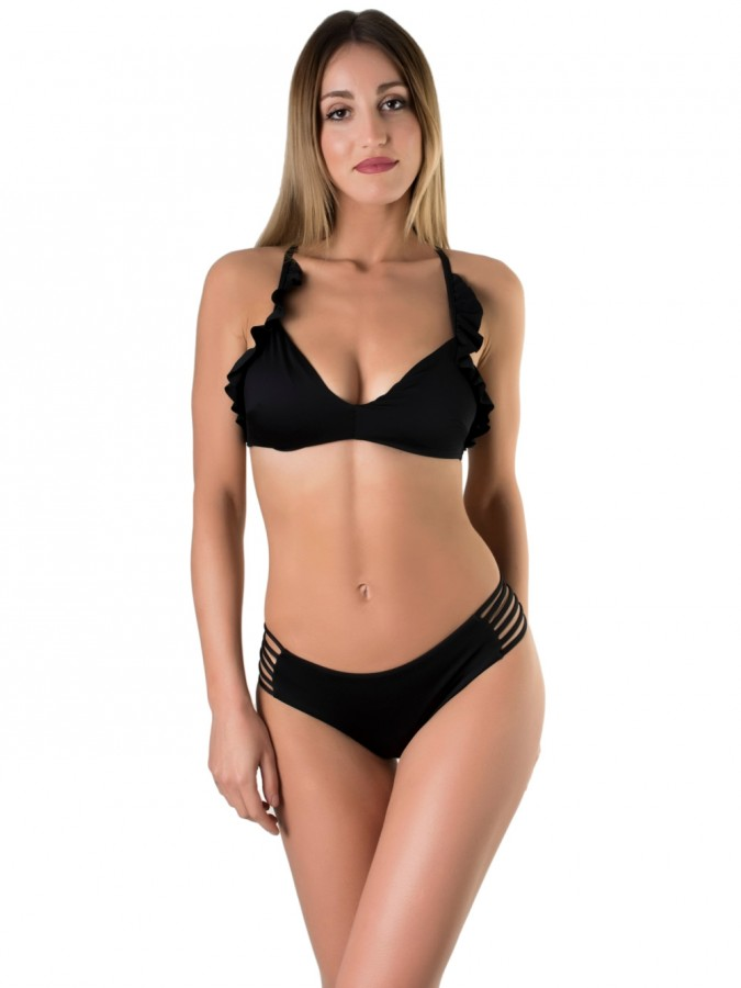 Set Μαγιό Bu4u Solids - Top με Ενίσχυση Βολάν + Bikini με Λωρίδες ... 33de9248c91