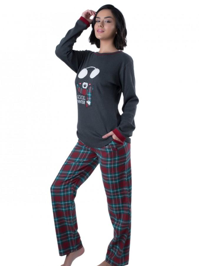 Γυναικεία Πυτζάμα Apple - Σχέδιο Κέντημα   Καρό Παντελόνι - Χειμώνας ... 3581d1c8e79