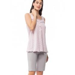 Πυτζάμα Γιώτα Homewear - 100% Βαμβακερό - Μακρύ Σόρτς - Δαντέλα & Βολάν - Καλοκαίρι 2018