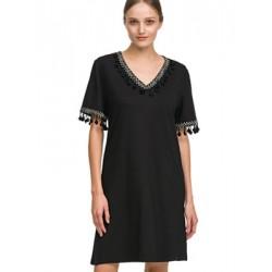 ΓΙΩΤΑ Γυναικείο Φόρεμα Beachwear - Αέρινο Ύφασμα Viscose - Σχέδιο Κέντημα - Καλοκαίρι 2020