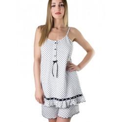 Set Homewear Γυναικείο Kare - Αέρινο Ύφασμα - Dots Πουά & Σατέν Βολάν - Καλοκαίρι 2018