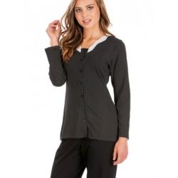 Πυτζάμα Γυναικεία MINERVA με Κουμπιά - 100% Βαμβάκι Interlock - Dots Πουά & Δαντέλα - Hot Pick 19/20