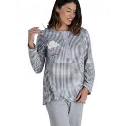 Γυναικεία Πυτζάμα RACHEL - 100% Βαμβακερή - Καρό Σχέδιο & Κουμπιά - Χειμώνας 2020/21