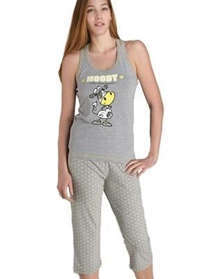 Γυναικεία Βαμβακερή Πυτζάμα-Homewear Jeannette - Αθλητική Πλάτη & Κάπρι - Νεανικό Σχέδιο Μεταξοτυπίας