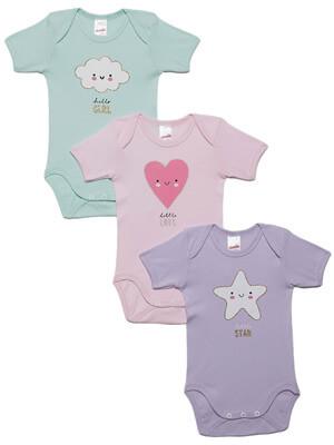 Βρεφικά Κορμάκια MINERVA για κορίτσι LITTLE STAR- 100% Αγνό Βαμβάκι - 3 Pack - Χειμώνας 2021/22