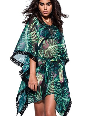 Καφτάνι Beachwear Bluepoint Tropical - Αέρινο Ύφασμα & Φούντες