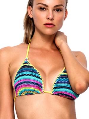 Μαγιό Blu4u Τρίγωνο Blanket Crochet - Αφαιρούμενη Ενίσχυση - Πλεχτό Σχέδιο