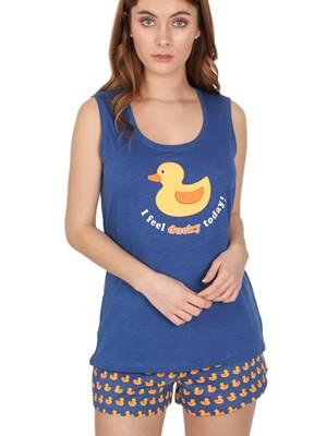 Πυτζάμα Γυναικεία ADMAS Ducky - 100% Βαμβακερή - All Over Σχέδιο - Καλοκαίρι 2020
