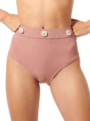 Μαγιό BLU4U Buttoned Bikini Κανονικό Ψηλοκάβαλο - Rib Ύφασμα & Κουμπιά - Καλοκαίρι 2020