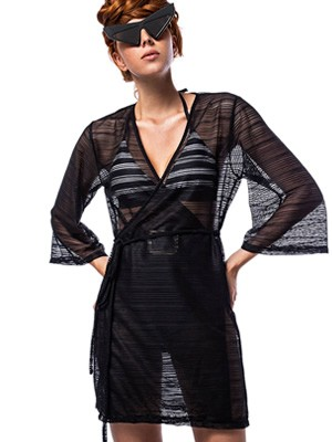 BLUEPOINT Καφτάνι Beachwear Clear Black - Αέρινο Ύφασμα - Καλοκαίρι 2020