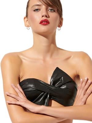 Μαγιό BLU4U Strapless Glam - Αόρατη Ενίσχυση & Μπανέλα - Μεταλιζέ Leather Look - Καλοκαίρι 2020