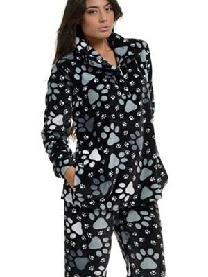 Πυτζάμα Πολυτελείας Bonne Nuit – Ζεστό Fleece – All Over Σχέδιο  - Μαύρο