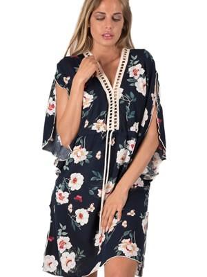 Καφτάνι BONNE NUIT -  Floral Αέρινο Ύφασμα  - Πλεχτό Σχέδιο - Καλοκαίρι 2019