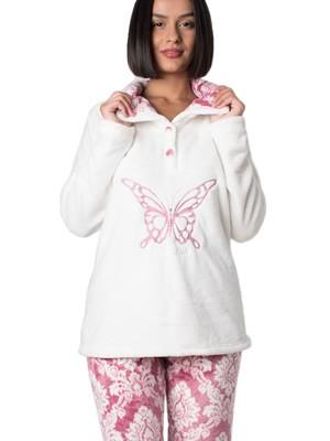 Πυτζάμα Πολυτελείας Bonne Nuit – Ζεστό Fleece – Ανάγλυφο Σχέδιο – Φουξ