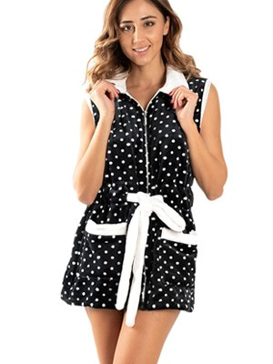 Γυναικεία Ρόμπα BONNE NUIT - Ζεστό & Απαλό Fleece - Πουά Dots - Smart Choice FW20/21