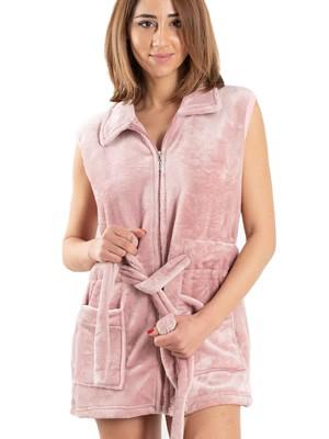 Ρόμπα Γυναικεία BONNE NUIT - Ζεστό & Απαλό Fleece - Τσέπες & Φερμουάρ - Stay Home 2020
