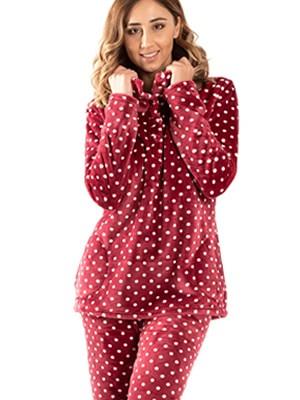Πυτζάμα Πολυτελείας BONNE NUIT - Ζεστό  Fleece - Dots Πουά - Smart Choice FW20/21