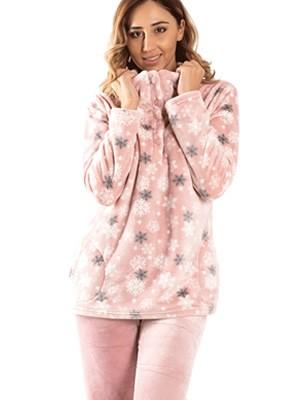 Πυτζάμα Πολυτελείας BONNE NUIT Snowflakes - Ζεστό & Απαλό Fleece - Smart Choice FW20/21