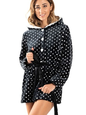 Ρόμπα Πολυτελείας BONNE NUIT - Απαλό & Ζεστό Fleece -Dots Πουά - Smart Choice FW20/21
