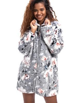Ρόμπα Πολυτελείας BONNE NUIT - Απαλό & Ζεστό Fleece - Floral Σχέδιο - Χειμώνας 2020/21