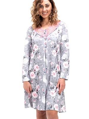 Νυχτικό BONNE NUIT - Γεμάτο Βαμβάκι - Floral Σχέδιο & Δαντέλα - Νέα Μαμά - Χειμώνας 2020/21