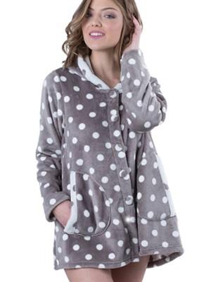 Ρόμπα Πολυτελείας Bonne Nuit - Γεμάτο Fleece - All Over Dots Πουά - Χειμώνας 2018/19