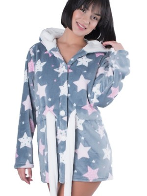 Ρόμπα Πολυτελείας Bonne Nuit - Γεμάτο Fleece - All Over Σχέδιο - Χειμώνας 2018/19