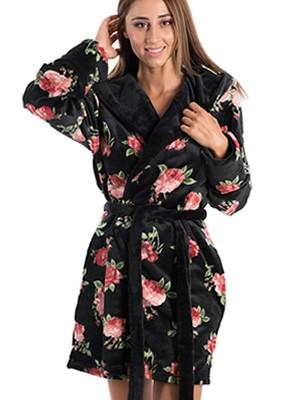 Ρόμπα Πολυτελείας BONNE NUIT - Ζεστό & Απαλό Fleece - Floral Σχέδιο - Smart Pick 19/20