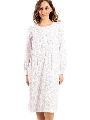 Νυχτικό ΓΙΩΤΑ Homewear - 100% Βαμβακερό - Κουμπιά & Floral Σχέδιο -Χειμώνας 2020/21