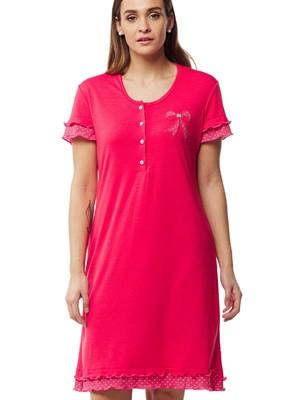 Νυχτικό Γιώτα Homewear - 100% Βαμβακερό - Κουμπιά Πέρλες & Βολάν Dots