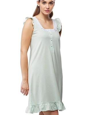 Νυχτικό Γιώτα Homewear - 100% Βαμβακερό - Δαντέλα & Dots Πουά