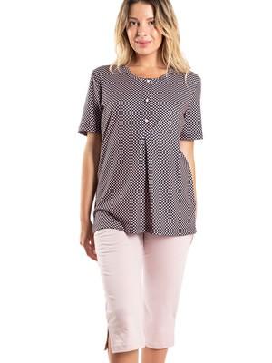 Πυτζάμα ΓΙΩΤΑ Homewear - 100% Βαμβακερή - Dots Πουά & Κουμπιά - Νέα Μαμά - Καλοκαίρι 2020