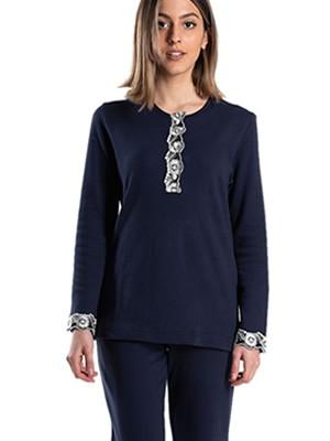 Πυτζάμα ΓΙΩΤΑ Homewear - 100% Βαμβακερή - Δαντέλα & Κουμπιά - Χειμώνας 2020/21